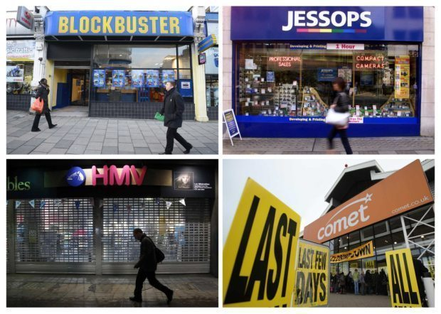 A combination photograph shows a branch of (clockwise from top left) DVD retailer Blockbuster UK in London January 16, 2013, along with file images of Jessops, Comet and HMV, all of which have gone into administration. Hedge funds are betting that a prolonged consumer squeeze and a further shift to online shopping could spell trouble for Britain's retail chains, and are targeting some of its best-known electrical, clothes and supermarket stores. REUTERS/Paul Hackett (BRITAIN - Tags: BUSINESS EMPLOYMENT ENTERTAINMENT)
